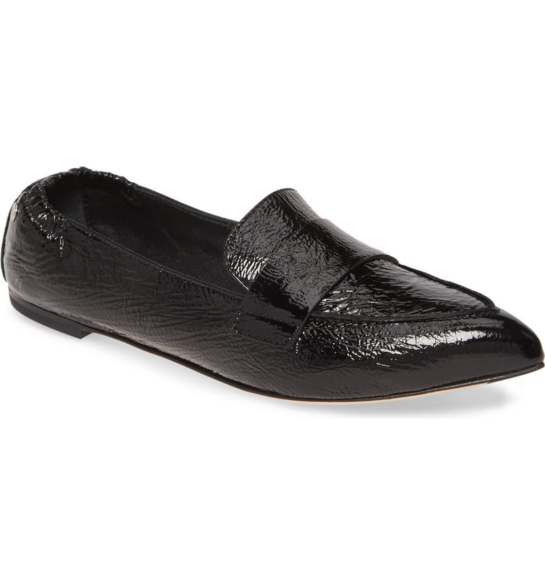 AGL Softy Pointy Toe Moccasin Loafer, Main, color, BLACK PATENT