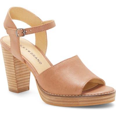 Lucky Brand Naika Ankle Strap Platform Sandal- Beige