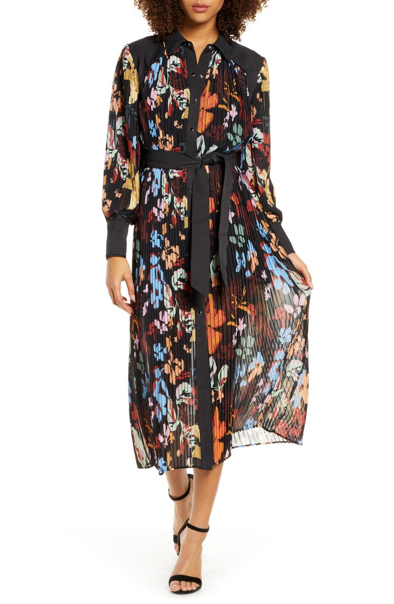 C/MEO COLLECTIVE Floral Print Long Sleeve Pleated Chiffon Shirtdress, Main, color, 002