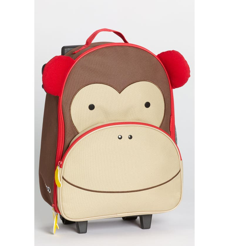 SKIP HOP Monkey Rolling Luggage, Main, color, BROWN