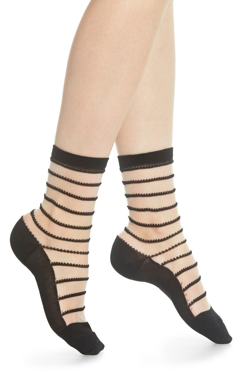 WOLFORD Isabella Sheer Stripe Crew Socks, Main, color, 001