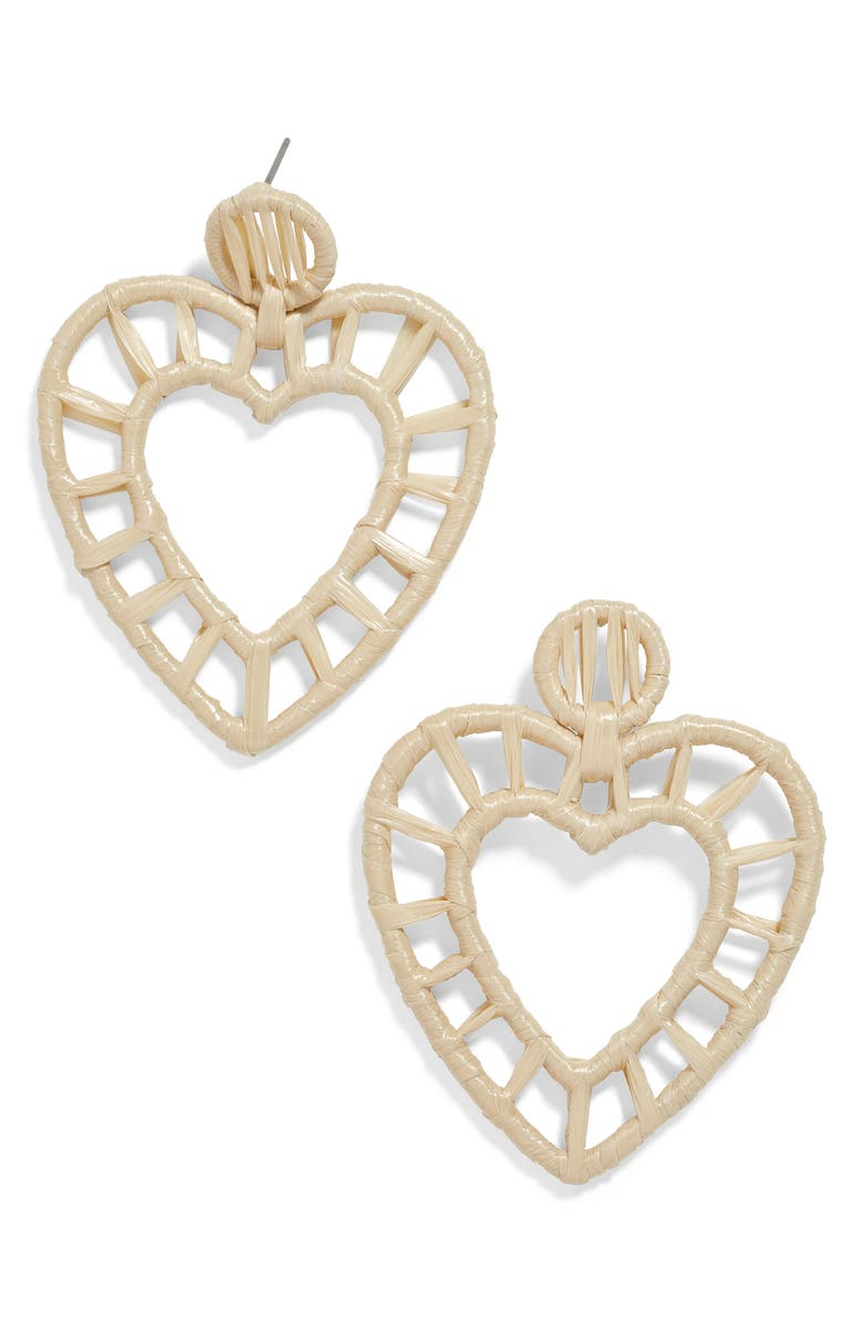 BAUBLEBAR Renata Raffia Heart Earrings, Main, color, 250