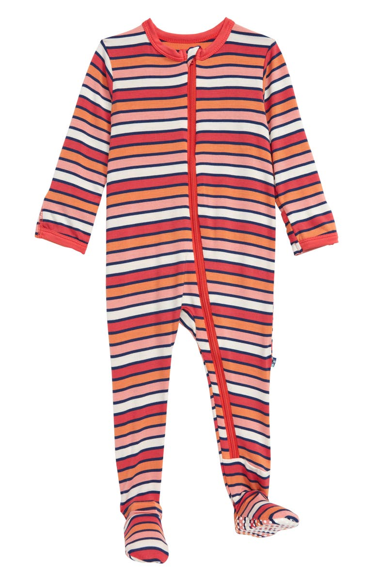 KICKEE PANTS Stripe Jersey Footie, Main, color, 625