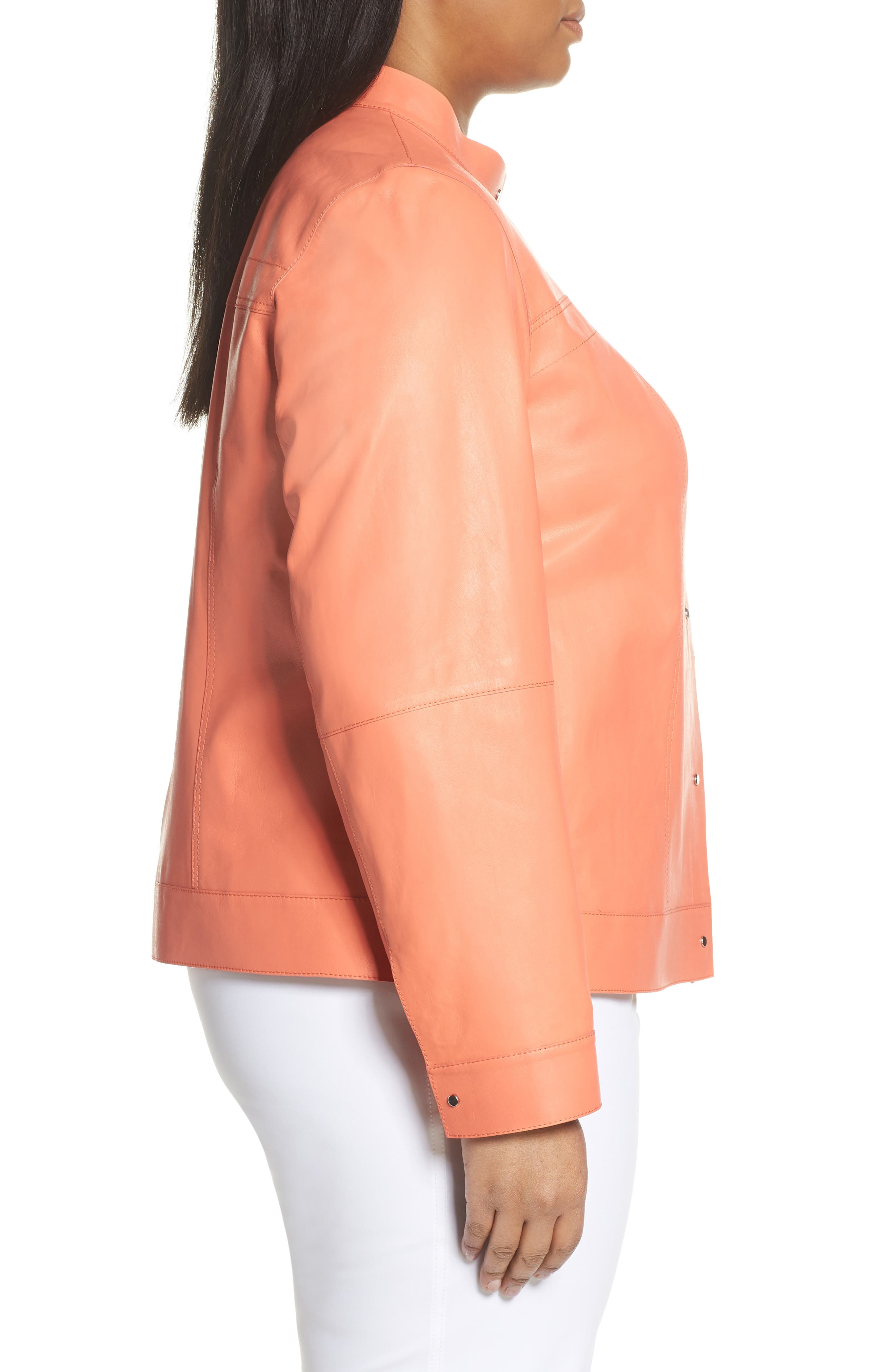 ,                             Galicia Leather Jacket,                             Alternate thumbnail 3, color,                             PEACH ROSE