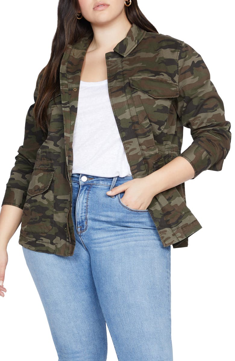 SANCTUARY Salute Camo Print Stretch Cotton Jacket, Main, color, HERO CAMO