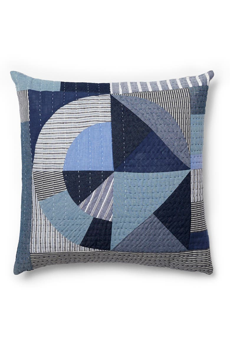 THOMPSON STREET STUDIO Denim Patchwork Pillow, Main, color, DENIM