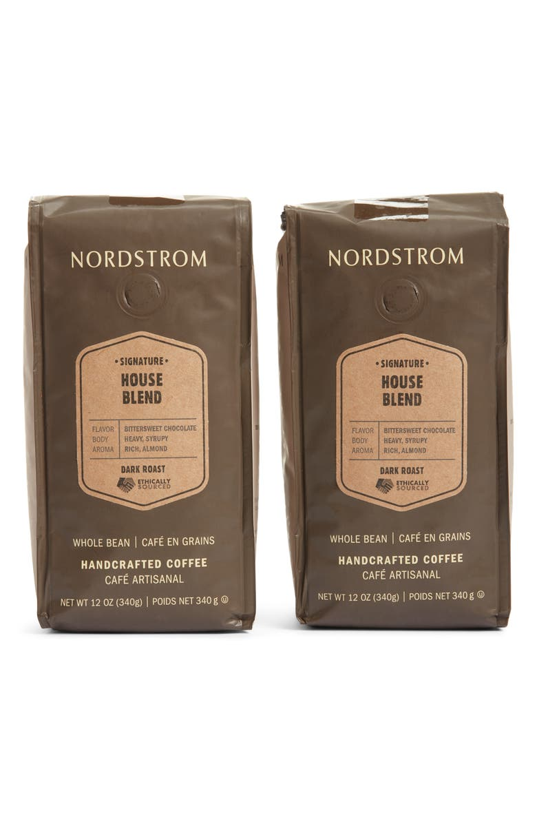 NORDSTROM Ethically Sourced House Blend 2-Pack Whole Bean Coffee, Main, color, BROWN