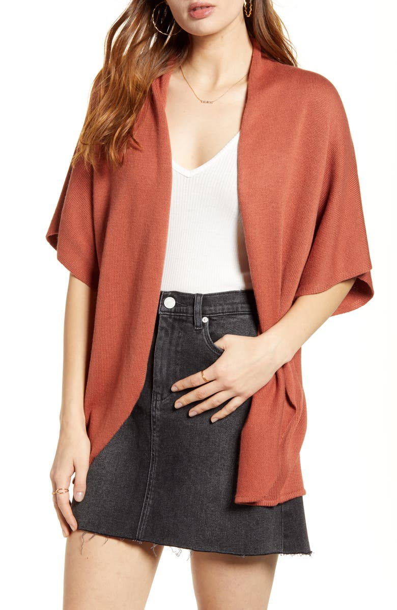 LEITH Dolman Sleeve Cardigan, Main, color, RUST CLAY