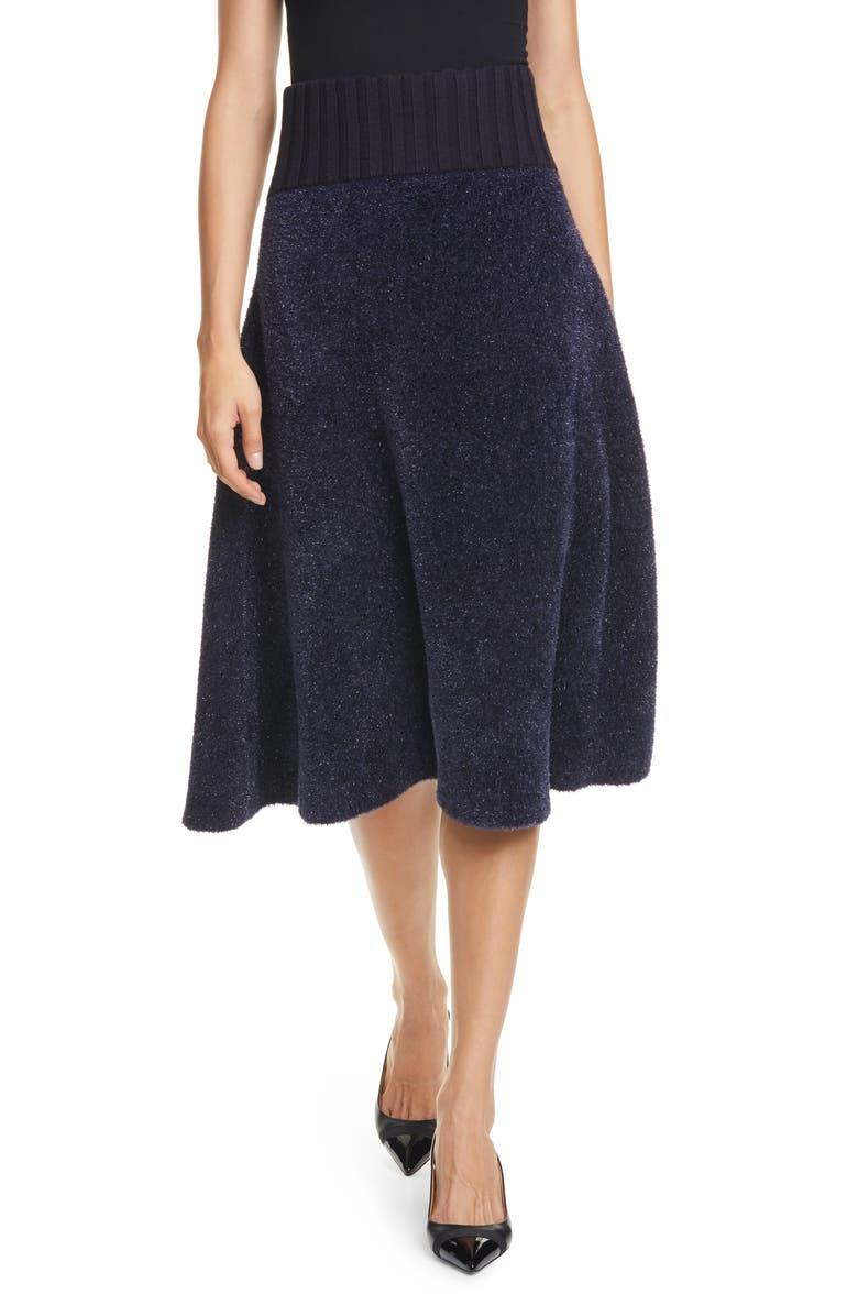 TORY BURCH Metallic Fleck Sweater Skirt, Main, color, TORY NAVY
