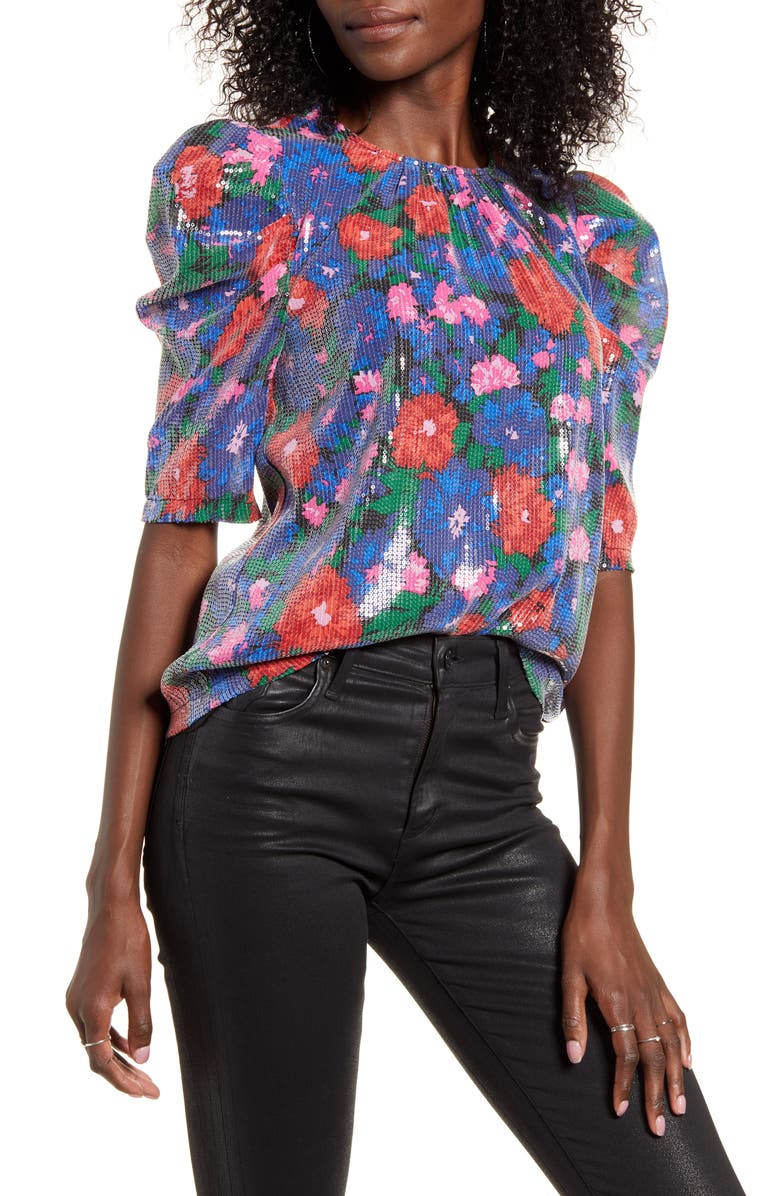 WAYF Greyson Sequin Puff Sleeve Top, Main, color, BLUE FLORAL SEQUINS
