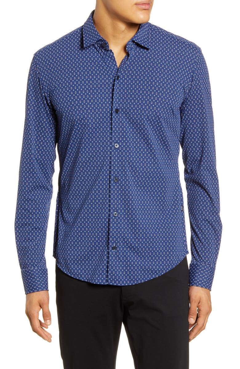 BOSS Robbie Regular Fit Geo Print Button-Up Shirt, Main, color, BLUE