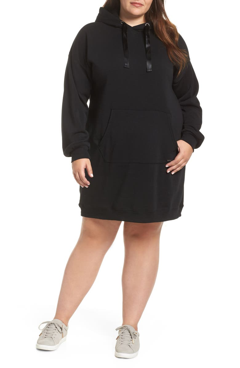 VOLCOM In The Hoodie Sweatshirt Dress, Main, color, 001