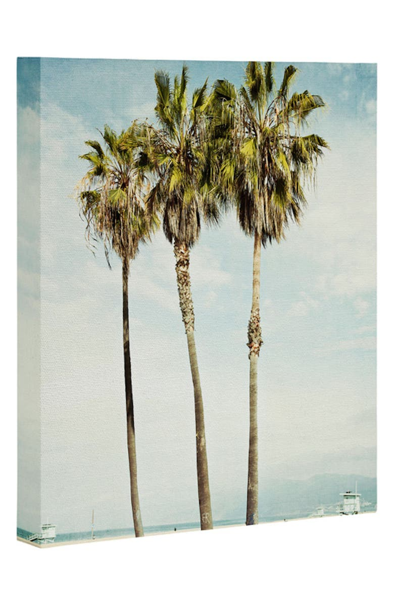DENY DESIGNS Venice Beach Palms Wall Art, Main, color, BLUE/ GREEN