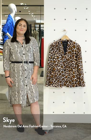 Parke Leopard Print Linen Blend Blazer, sales video thumbnail