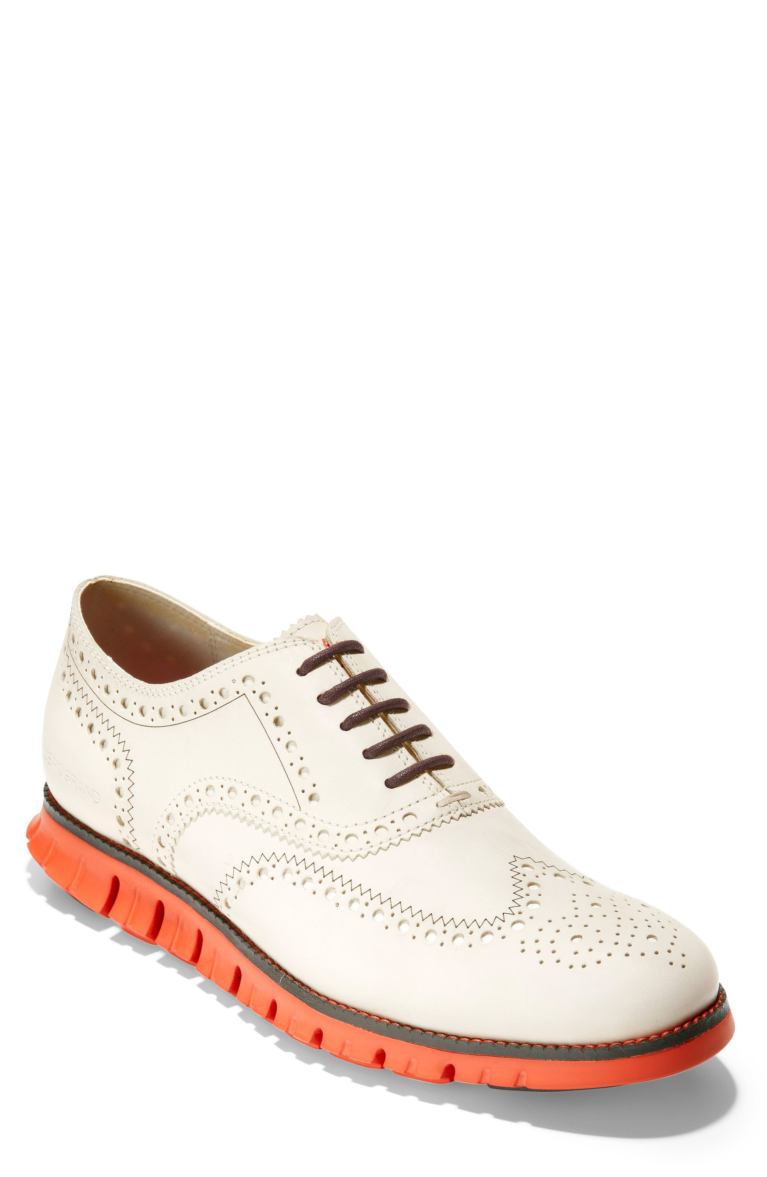 'ZeroGrand' Wingtip Oxford, Main, color, IVORY LEATHER/ DARK ROAST