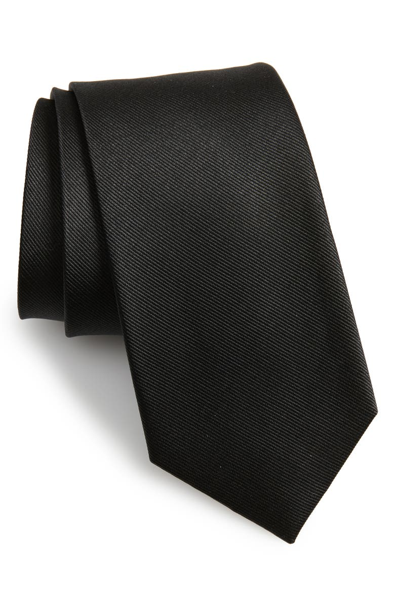 THE TIE BAR Solid Silk Tie, Main, color, BLACK