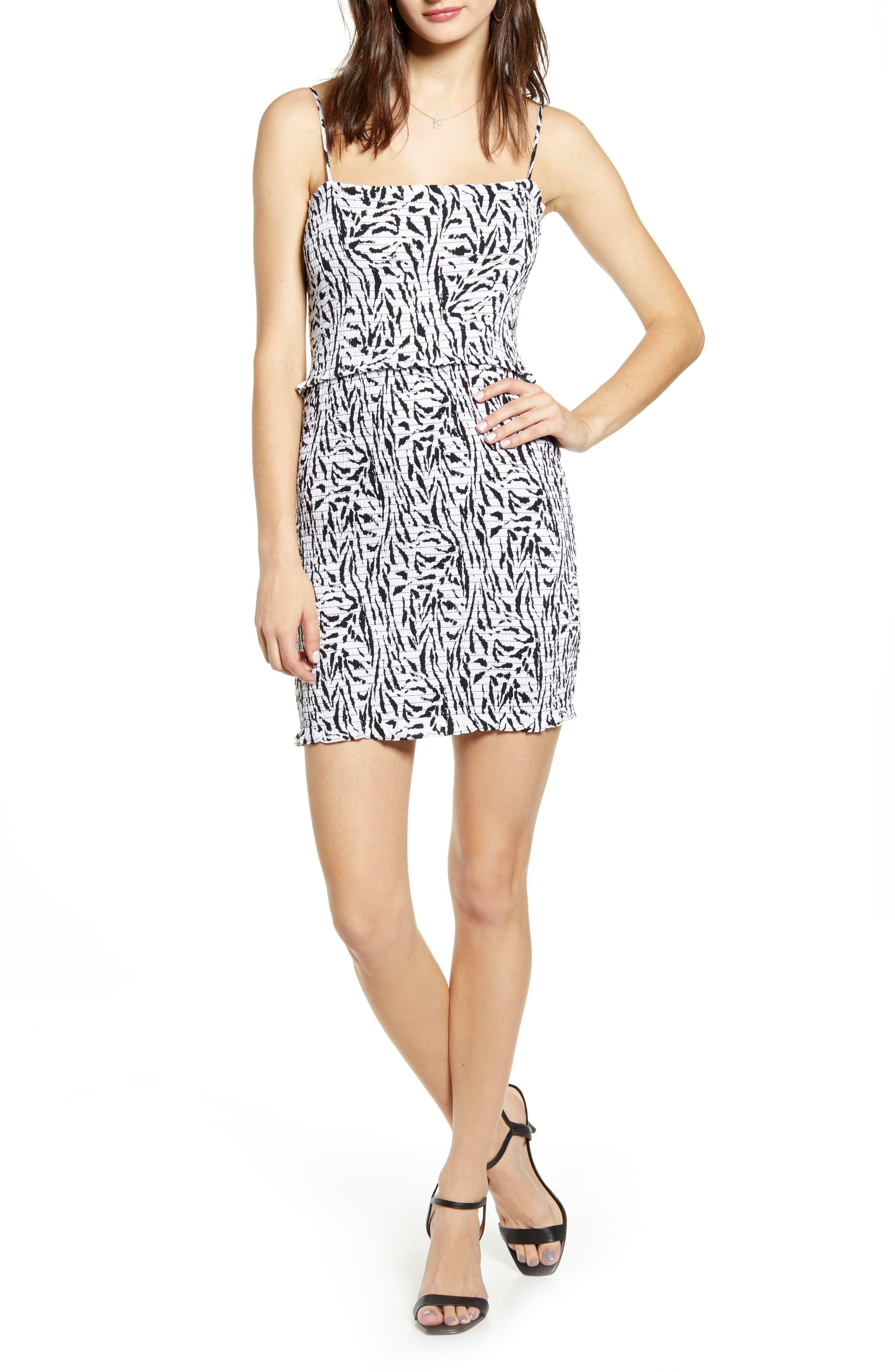 Afrm Isla Zebra Print Smocked Minidress, White