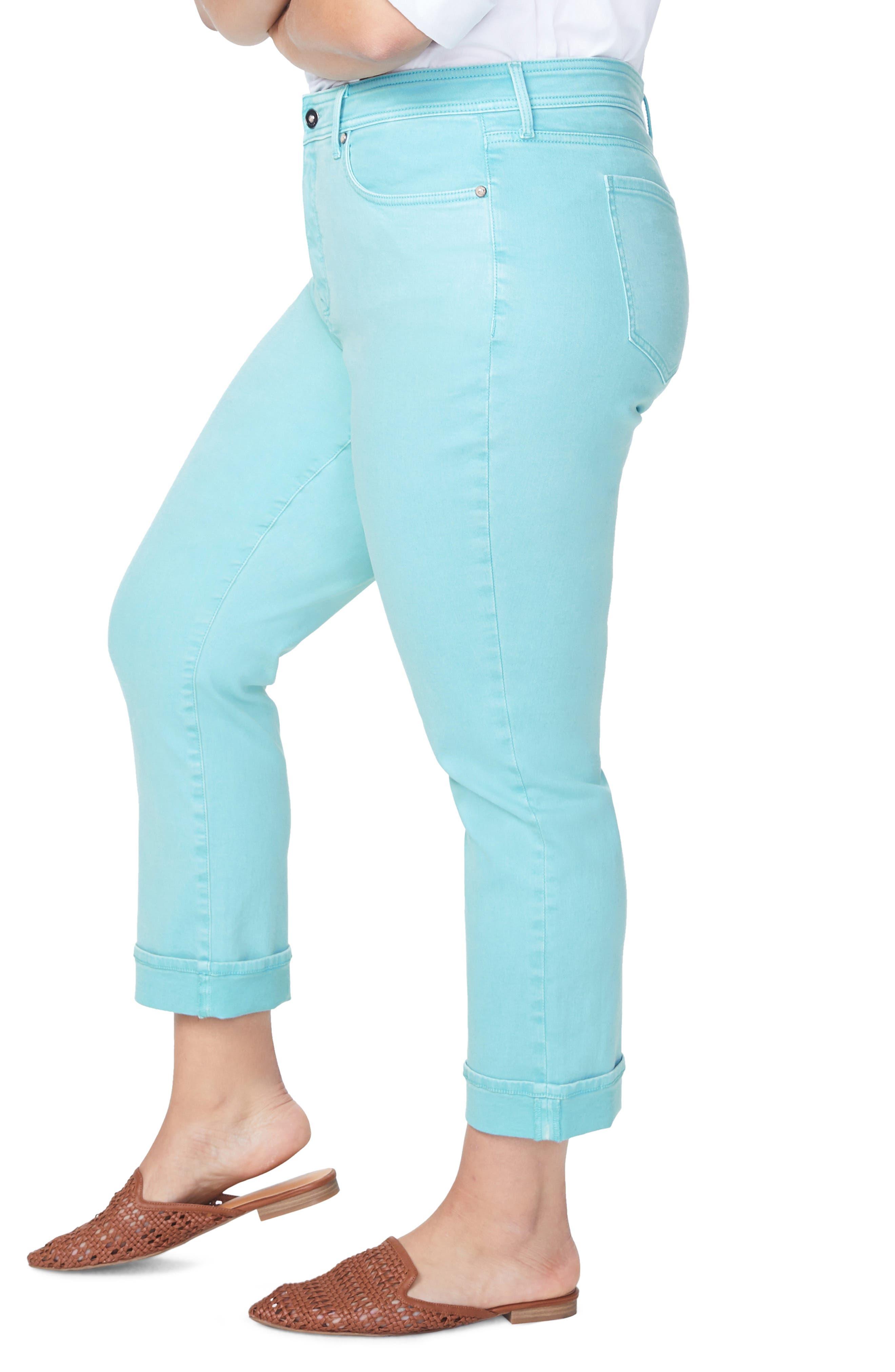 ,                             Marilyn Cuff Straight Leg Jeans,                             Alternate thumbnail 3, color,                             BLUE DAISY