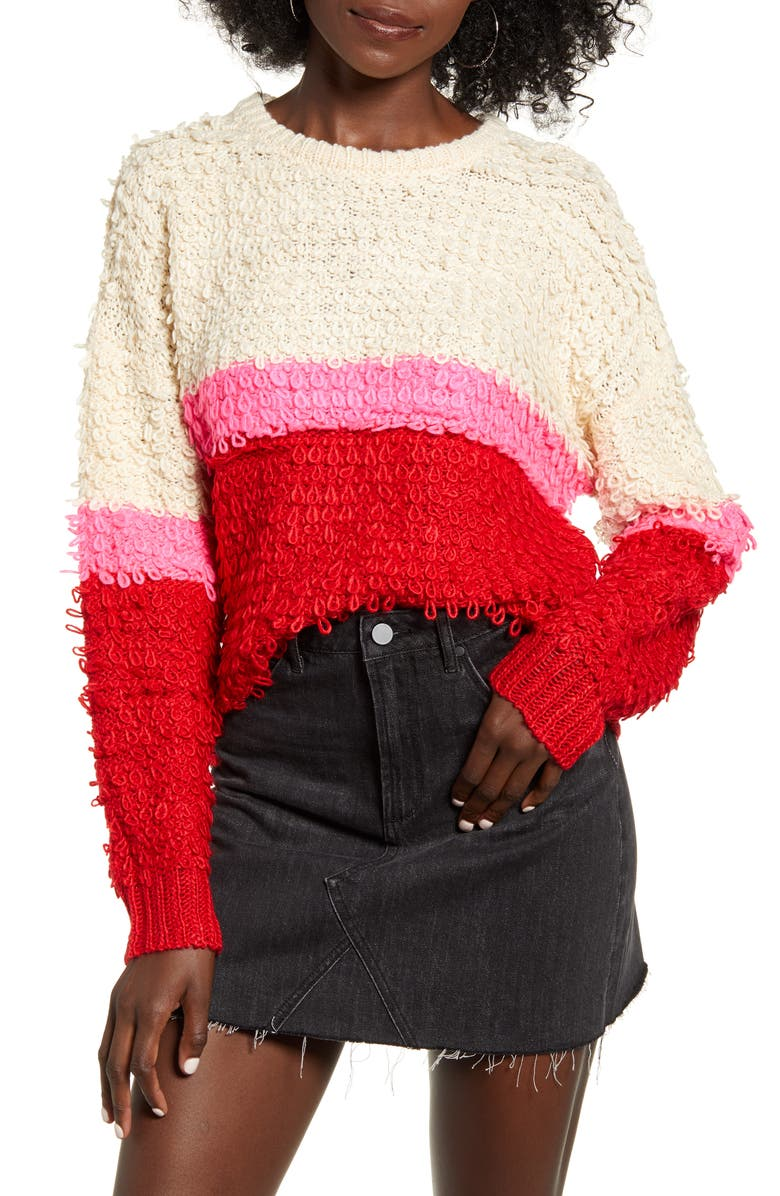 WOVEN HEART Bold Stripe Sweater, Main, color, IVORY/ PINK/ RED
