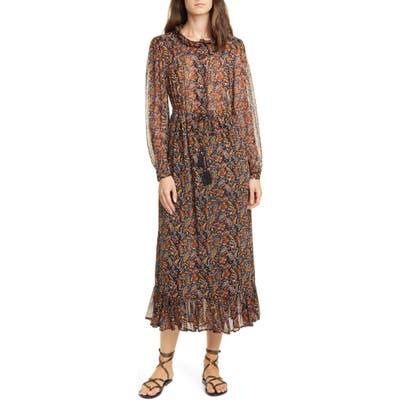 Sea Nicolette Floral Long Sleeve Midi Dress, Brown