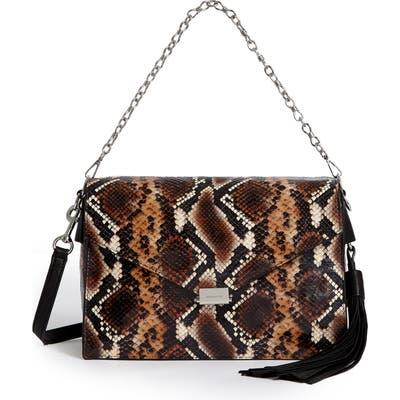 Allsaints Miki Snake Embossed Leather Shoulder Bag - Brown