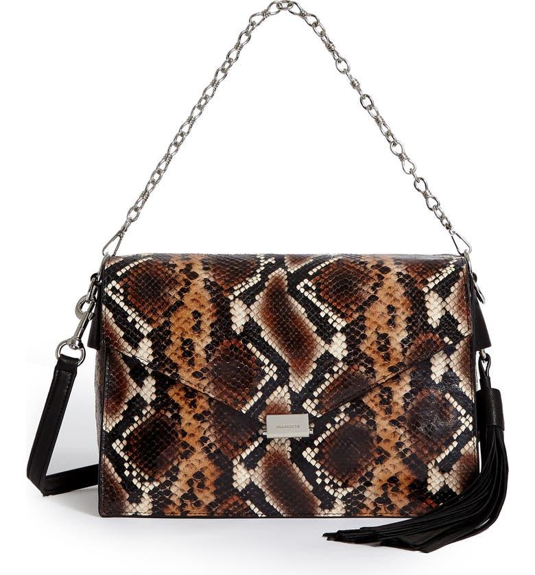 ALLSAINTS Miki Snake Embossed Leather Shoulder Bag, Main, color, BROWN