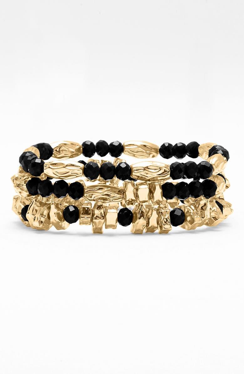 NORDSTROM Bead Stretch Bracelets, Main, color, 001