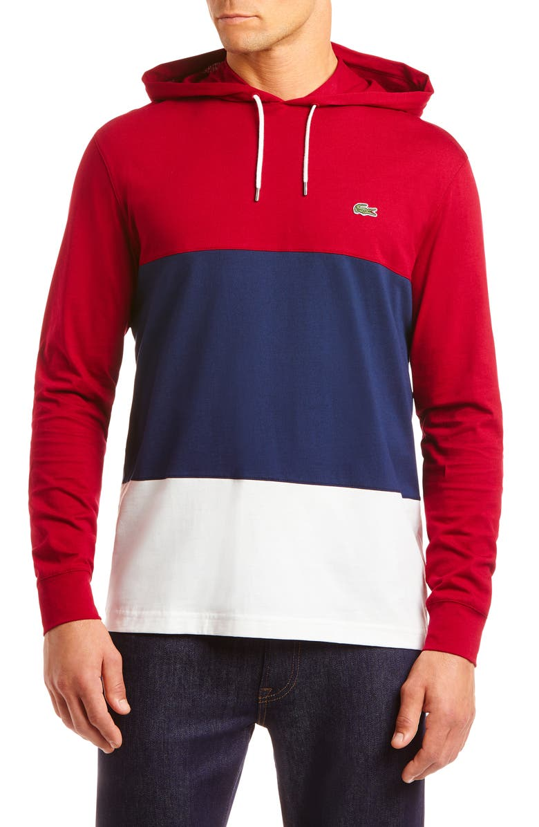 LACOSTE Colorblock Pullover Hoodie, Main, color, 400