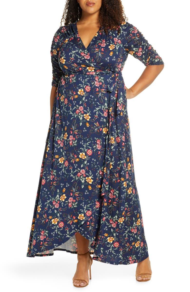 KIYONNA Meadow Dream Wrap Maxi Dress, Main, color, EVENING FLORAL PRINT