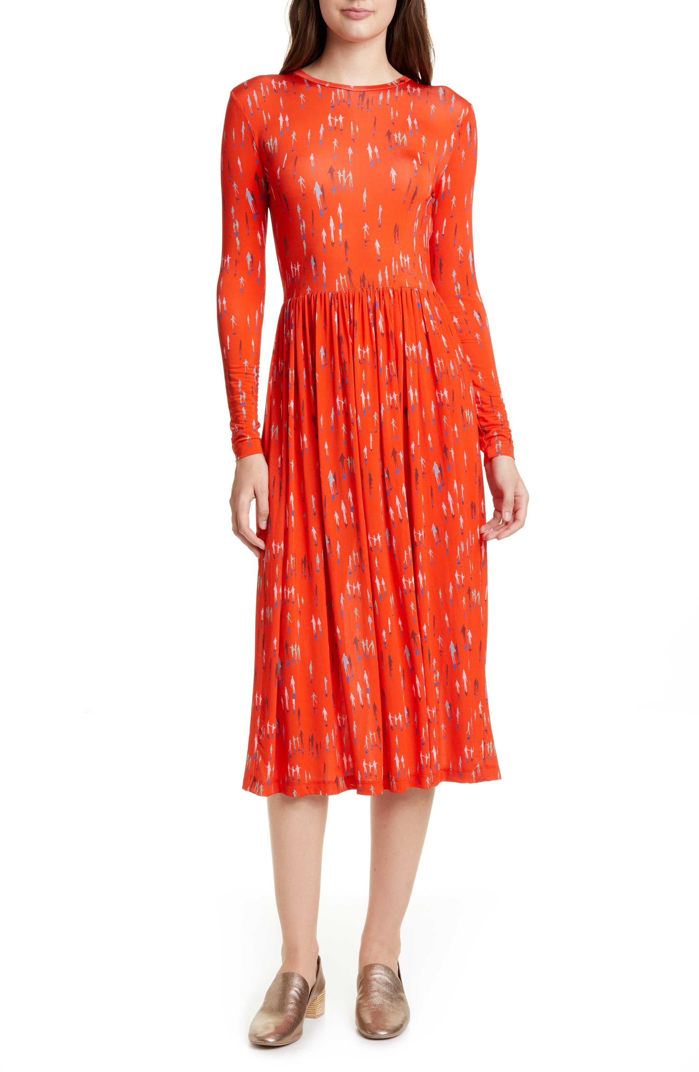 Stine Goya Joel Long Sleeve Midi Dress, Red