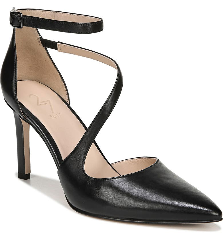 27 EDIT Abilyn Ankle Strap Pump, Main, color, BLACK LEATHER