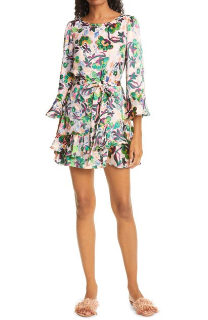 Saloni MARISSA METALLIC FLORAL FIL COUPE MINIDRESS