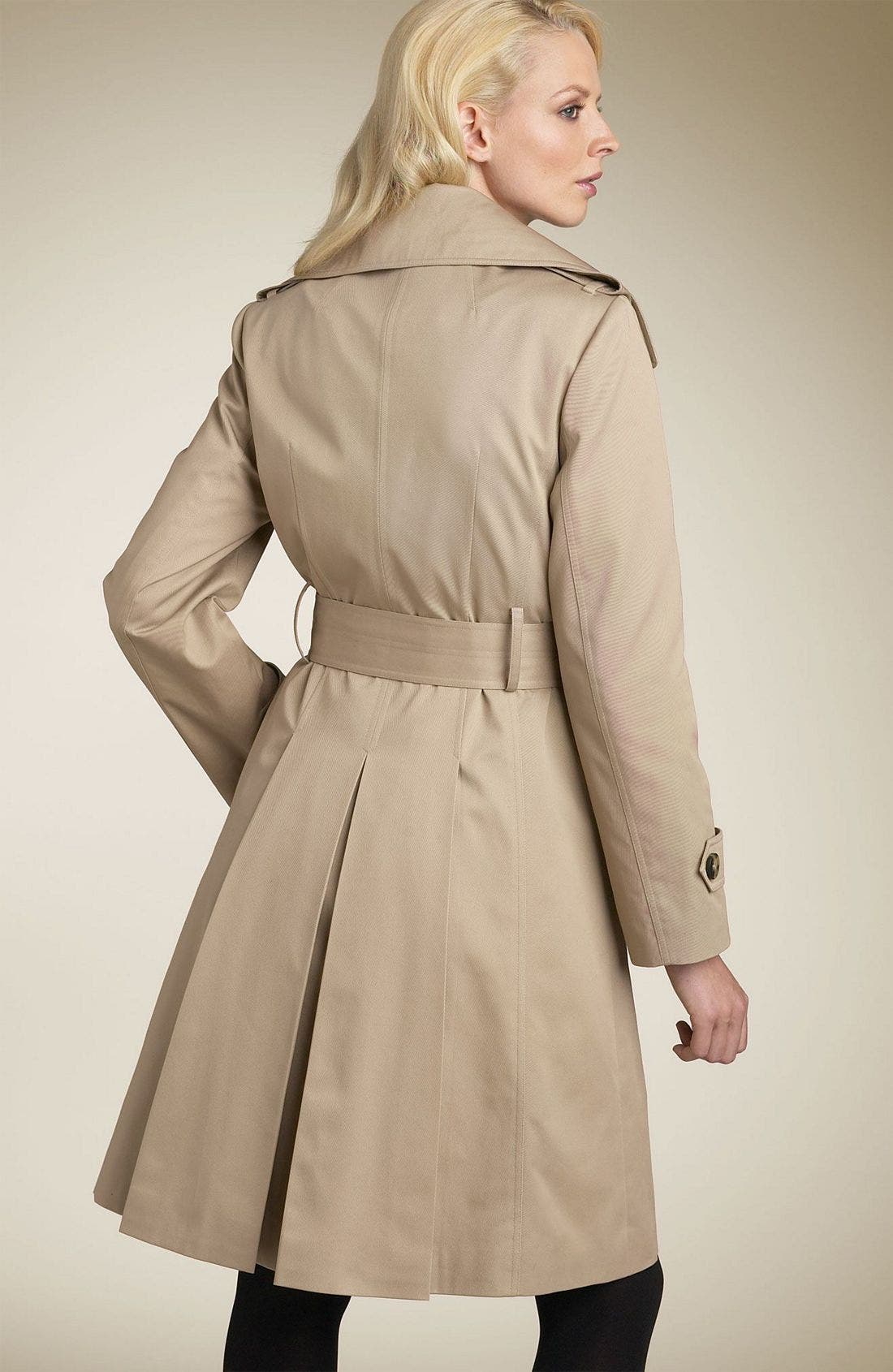 ,                             Belted Trench Coat with Zip Out Liner,                             Alternate thumbnail 3, color,                             KHA