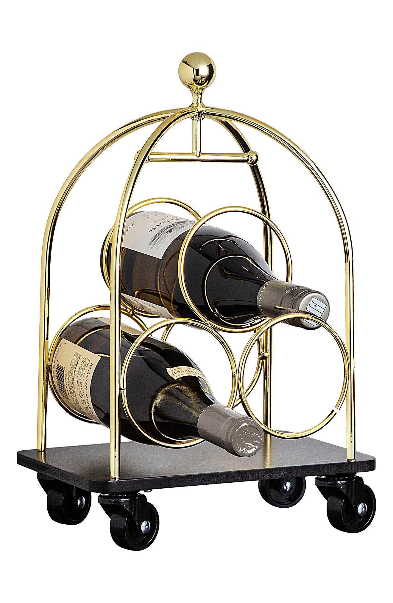 Summon the porter for your Pinot or the bellhop for your Bordeaux with this three-bottle wine rack that delivers your libations in a posh-hotel luggage cart. Style Name: Godinger 3-Bottle Luggage Cart Wine Rack. Style Number: 6090213. Available in stores.