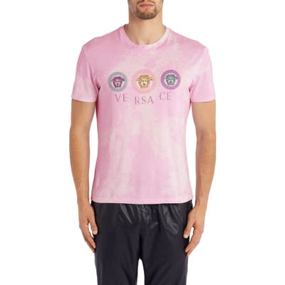 Versace Embroidered Medusa T-Shirt, Pink