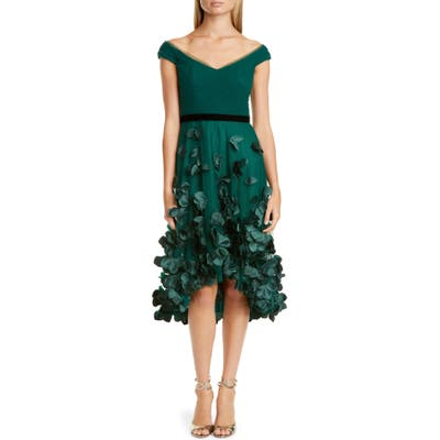 Marchesa Notte Floral Applique High/low Cocktail Dress, Green