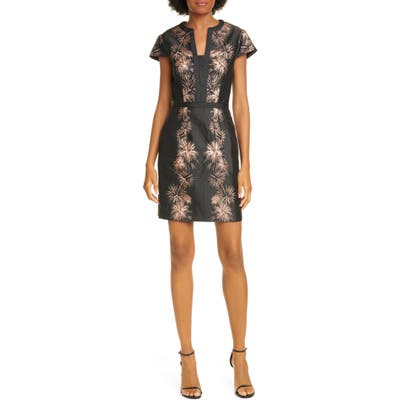 Ted Baker London Stardust Metallic Jacquard Minidress, (fits like 4-6 US) - Black