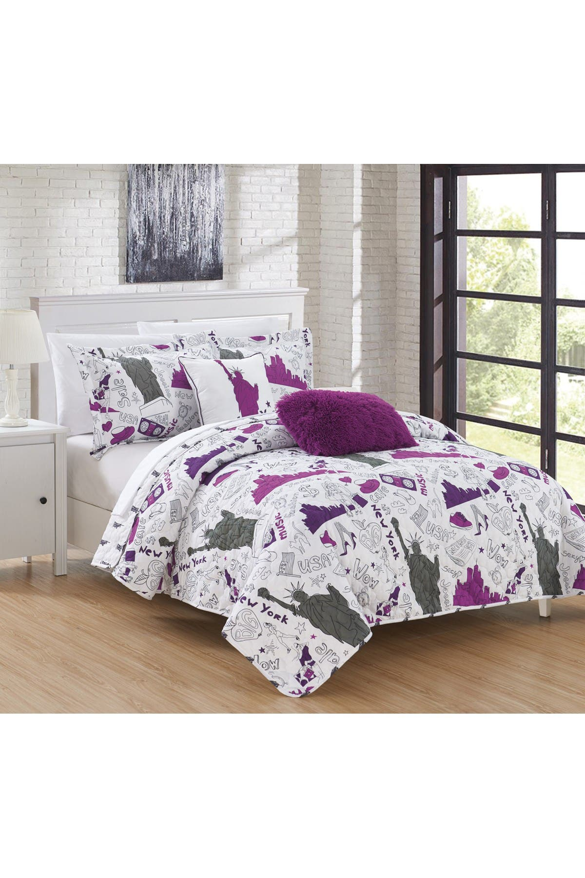 Image of Chic Home Bedding Full Fulton Reversible New York Theme Quilt Set - Purple