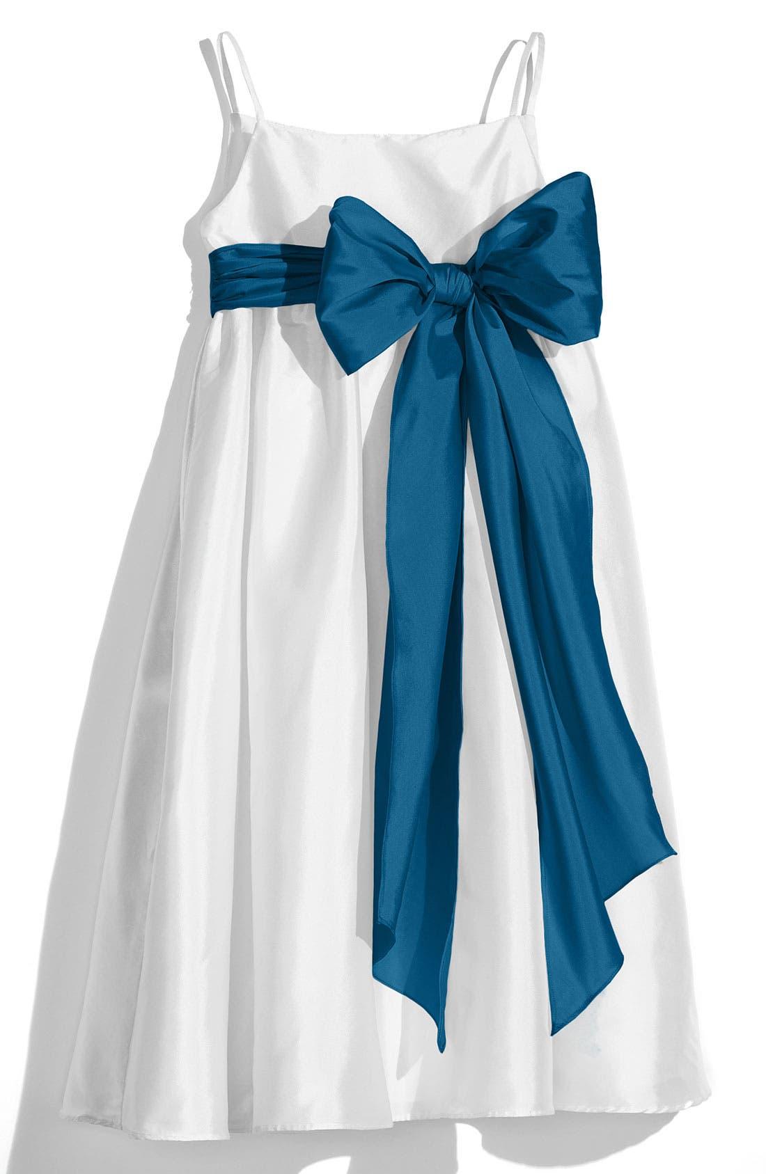 ,                             White Sleeveless Empire Waist Taffeta Dress,                             Main thumbnail 9, color,                             441