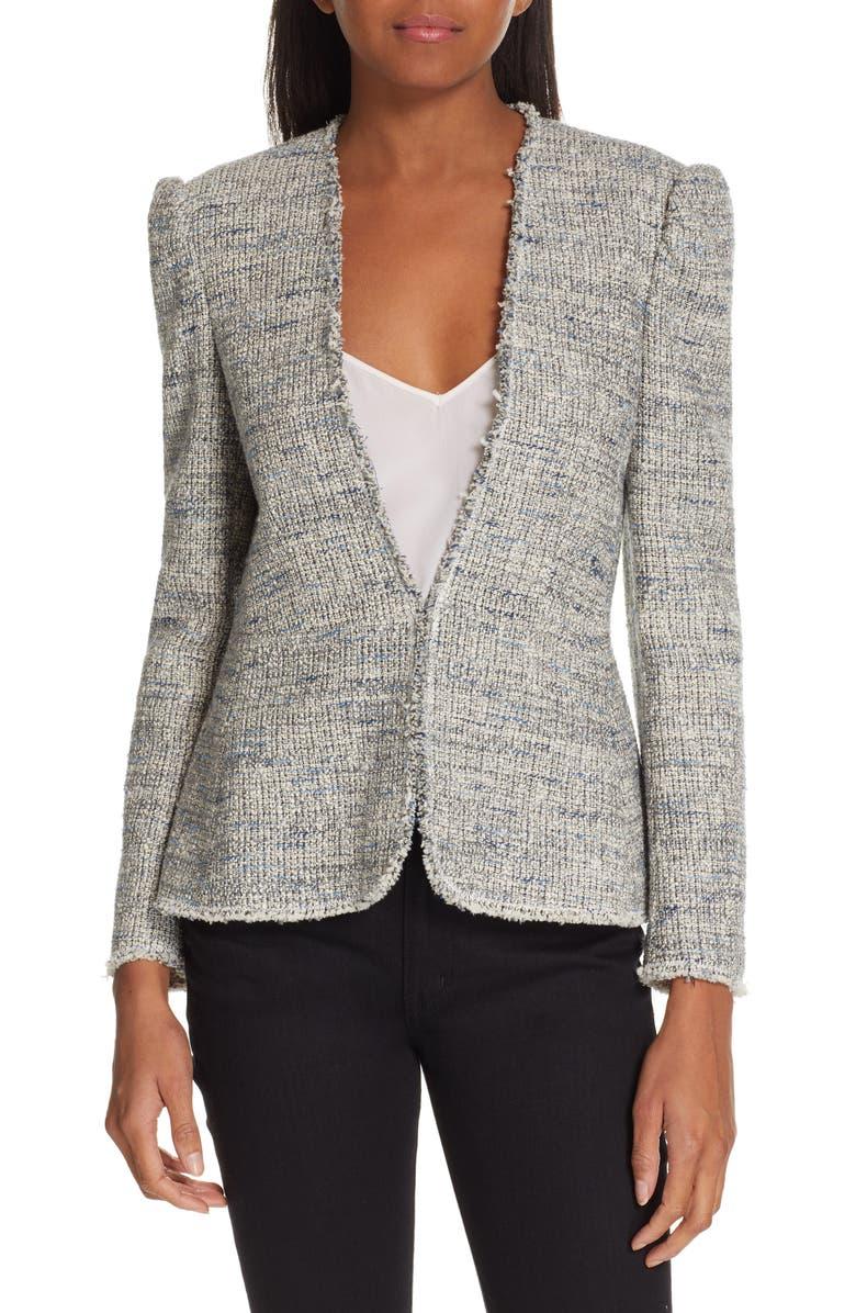 REBECCA TAYLOR Tweed Peplum Jacket, Main, color, 020