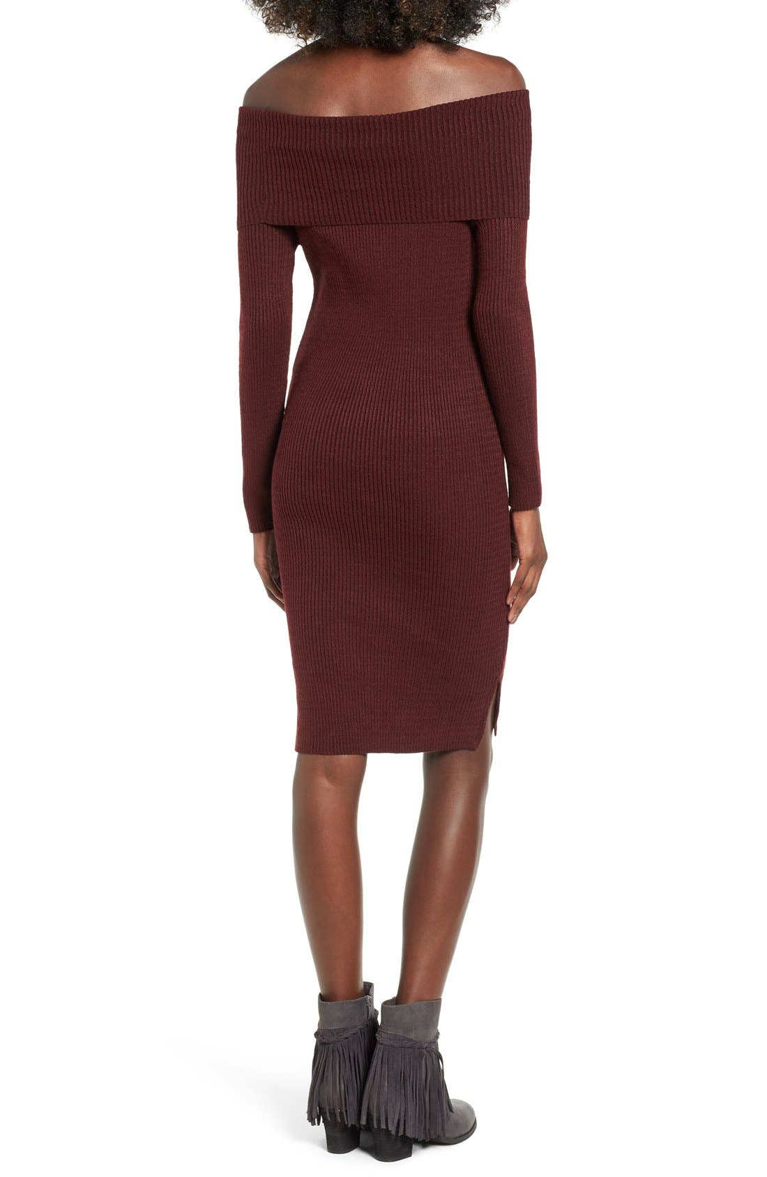 ,                             Off the Shoulder Knit Body-Con Dress,                             Alternate thumbnail 7, color,                             930