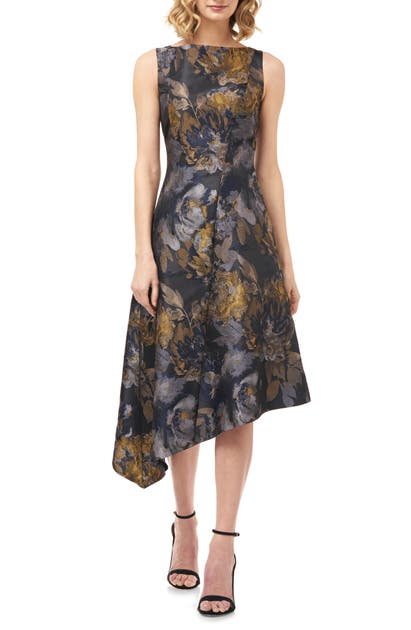 Kay Unger Dresses CARMELLA DIJON ASYMMETRICAL COCKTAIL DRESS