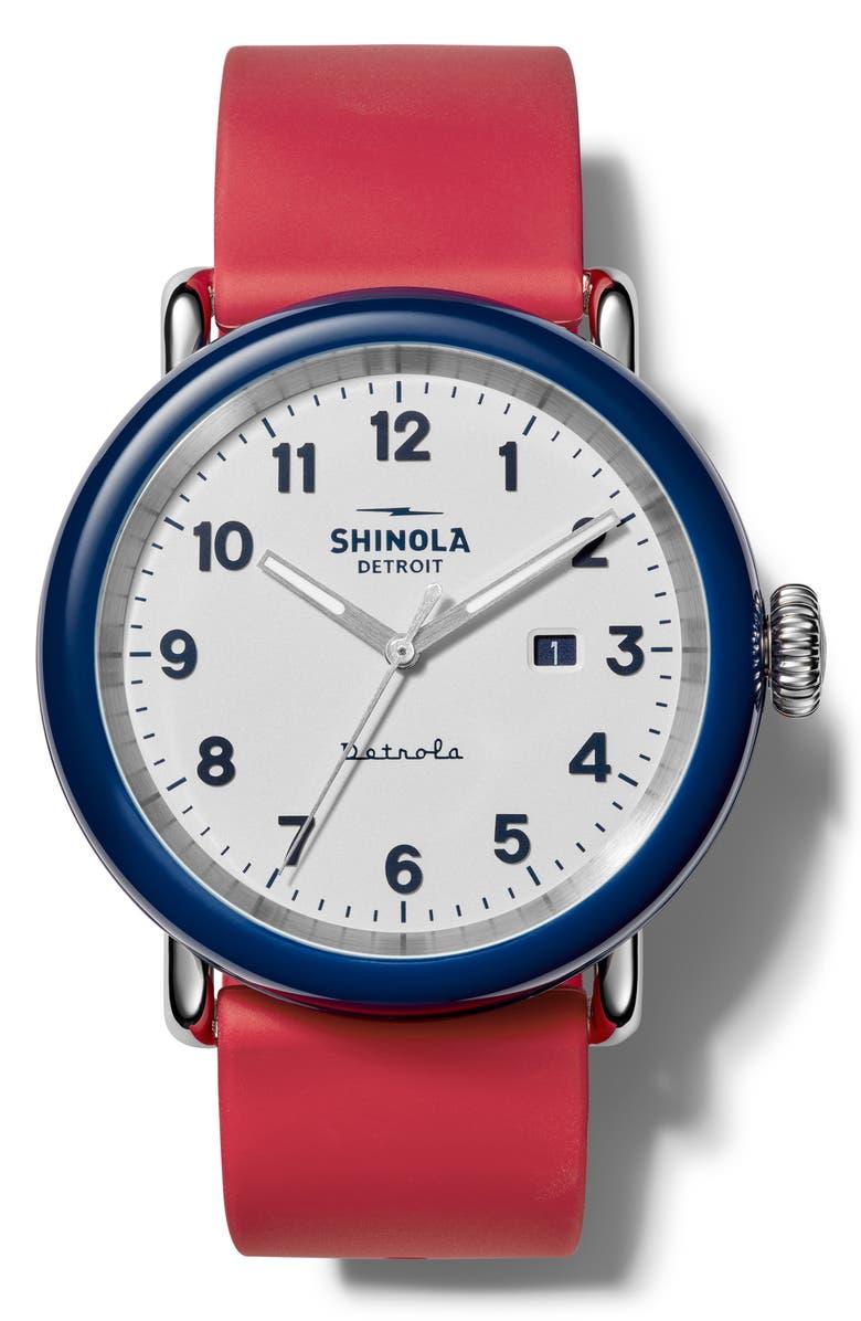 SHINOLA Detrola Silicone Strap Watch, 43mm, Main, color, RED/ WHITE/ MIDNIGHT BLUE