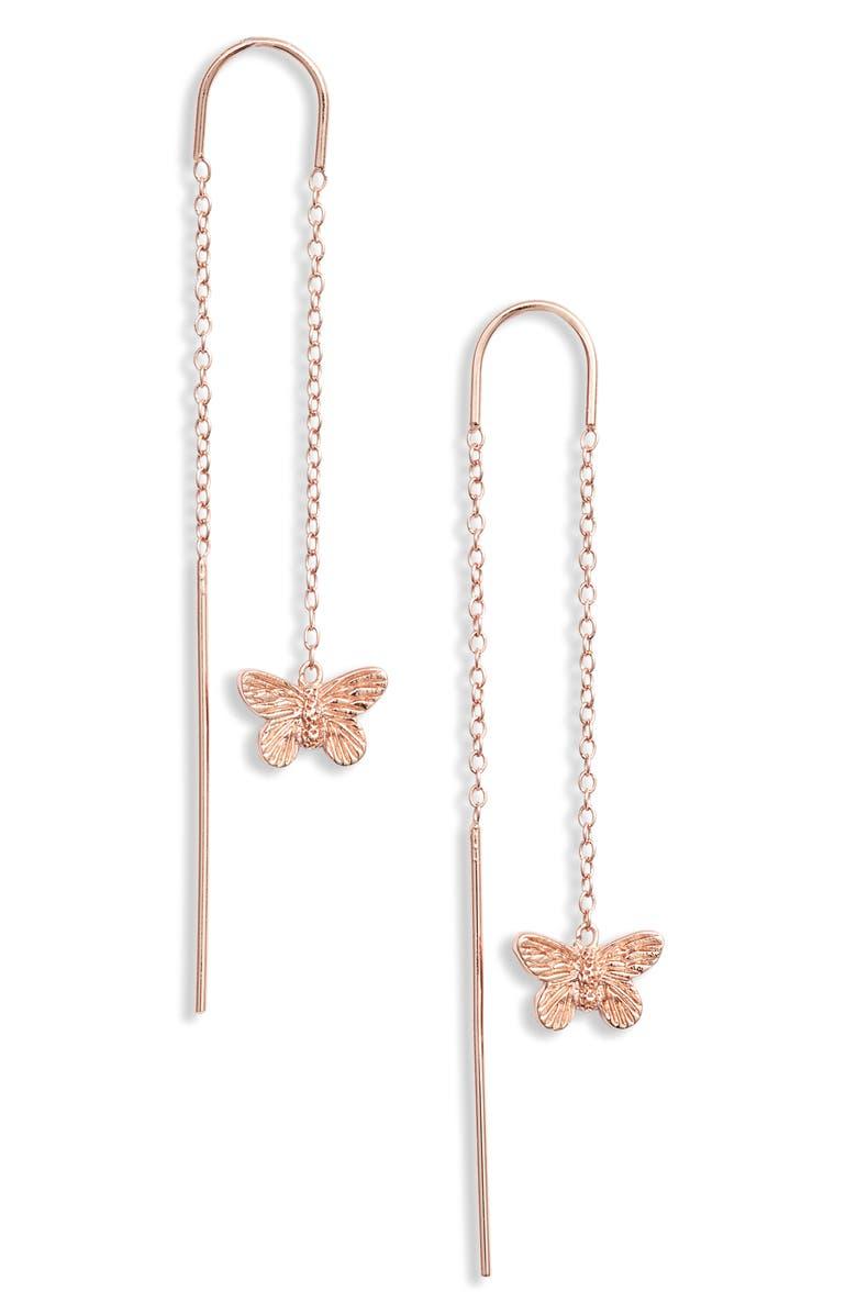 OLIVIA BURTON Butterfly Thread-Through Earrings, Main, color, ROSE GOLD