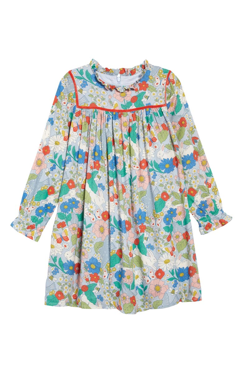 MINI BODEN Frill Neck Print Dress, Main, color, PROVENCE BLUE FLORABUNDA