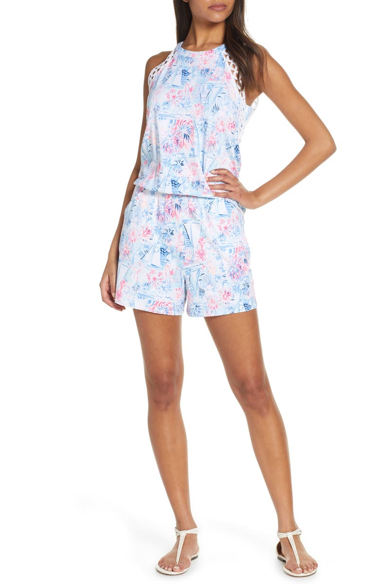LILLY PULITZER<SUP>®</SUP> Lala Sleeveless Romper, Main, color, CREW BLUE TINT SEA TO SHINING