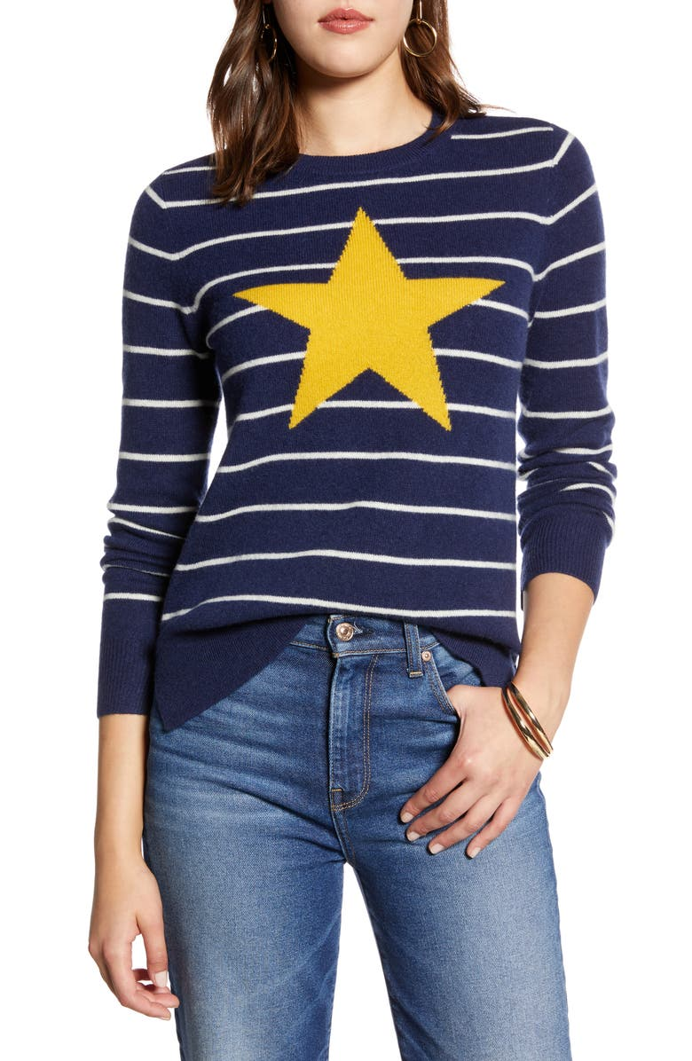HALOGEN<SUP>®</SUP> Wool & Cashmere Intarsia Crewneck Sweater, Main, color, NAVY- YELLOW STAR STRIPE