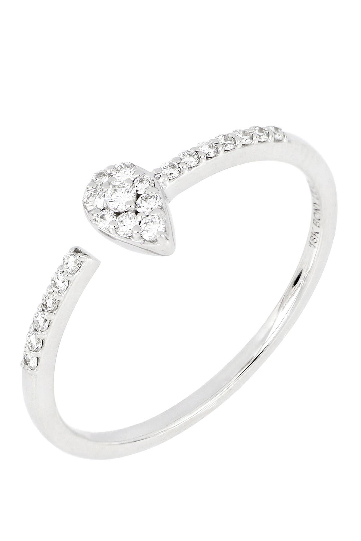 Image of Bony Levy 18k White Gold & Pave Diamond Pear Shape Coil Ring - 0.13 ctw