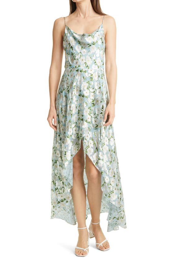 Alice And Olivia CHRISTINA TEXTURED FLORAL HIGH/LOW DRESS