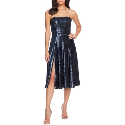 Dress The Population Ruby Strapless Sequin Party Dress, Blue